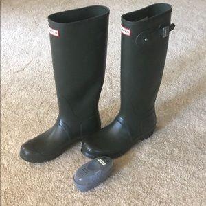 Tall green Hunter boots